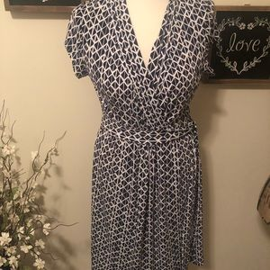 Liz Claiborne Blue and White Patterned Dress